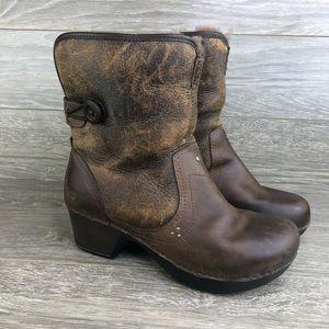 Dansko • Brown Leather Heeled Fur Boots